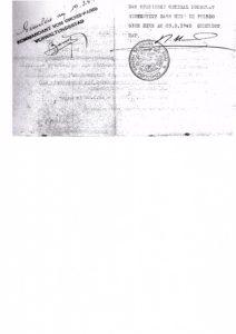 Verso de l'Ausweis libérant mon père signé par le consul Bernardo Rolland