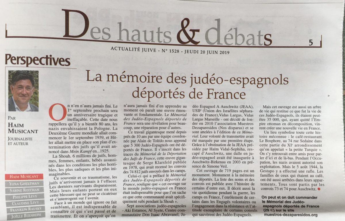 Article du 200619 Actualité Juive